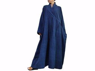 ジョムトン手織り綿のロングドレス No.1 インディゴ (DFS-053-03)の画像