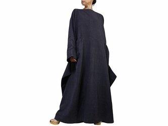 ジョムトン手織り綿のロングドレス No.2 墨黒 (DFS-054-01)の画像