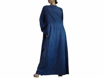 ジョムトン手織り綿のロングドレス No.2 インディゴ (DFS-054-03)の画像
