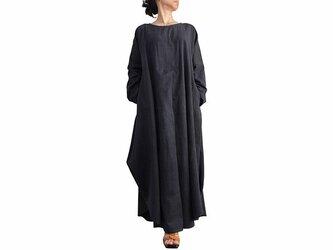 ジョムトン手織り綿のロングドレス No.3 墨黒 (DFS-055-01)の画像