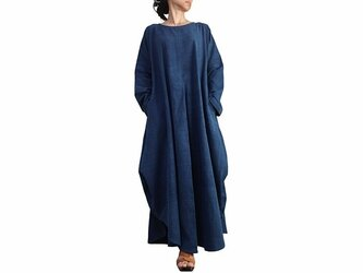 ジョムトン手織り綿のロングドレス No.3 インディゴ (DFS-055-03)の画像