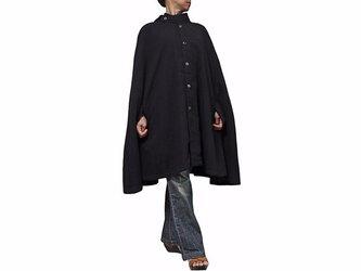 ジョムトン手織り綿マント風ポンチョジャケット 黒(JNN-055-01)の画像