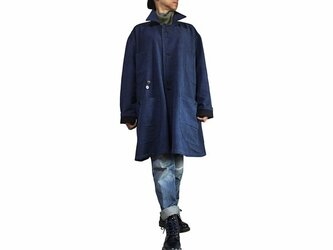 ジョムトン手織り綿ゆったりフーデッドコート インディゴ紺(JFS-147-03)の画像