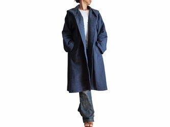 ジョムトン手織り綿ゆったりフーデッドコート インディゴ紺(JFS-125-03)の画像