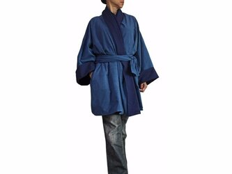 ジョムトン手織り綿和風羽織ジャケット インディゴ(JFS-126-03)の画像