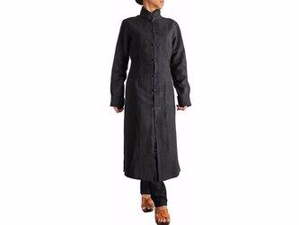 ジョムトン手織り綿のシンプルチャイナコート 黒(JFS-025-01)の画像