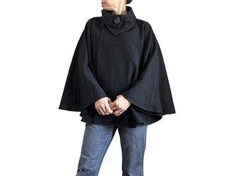 ジョムトン手織り綿ケープ 黒(JFS-096-01)の画像