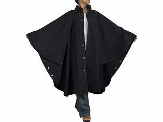 ジョムトン手織り綿ケープ付きハイネックマント 黒(JFS-130-01)の画像