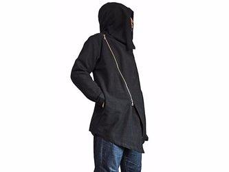 ジョムトン手織り綿ダブルジップのフーデッドコート 黒(JFS-141-01)の画像