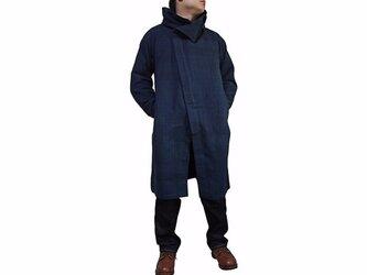 ジョムトン手織り綿フーデッドコート インディゴ紺(JFS-139-03)の画像