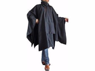 ジョムトン手織り綿虚無僧のマントコート 墨黒(JFS-110-01)の画像