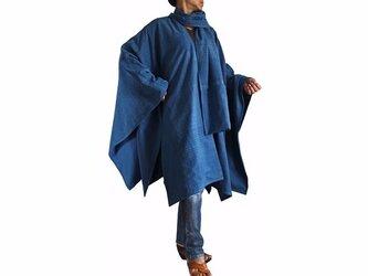 ジョムトン手織り綿虚無僧のマントコート インディゴ(JFS-110-03)の画像