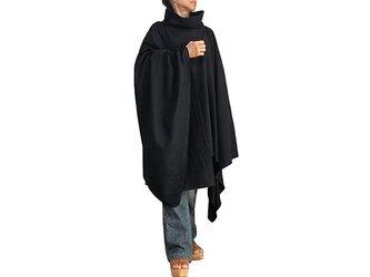 ジョムトン手織り綿纏いのポンチョ 黒 (DNN-031-01)の画像