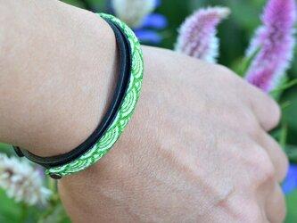 和風ブレスレット  ブラック / 青海波 緑  黒革 レザー レイヤードの画像