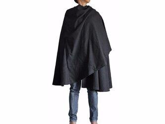 ジョムトン手織り綿フード付きマント 黒(JFS-070-01)の画像