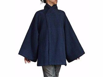 ジョムトン手織り綿和風ハーフコート インディゴ紺(JFS-135-03)の画像