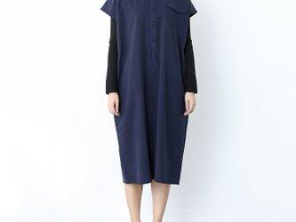 (再販)コットンリネン フレンチスリーブ シャツ襟ワンピース ♪オーダーサイズ可の画像