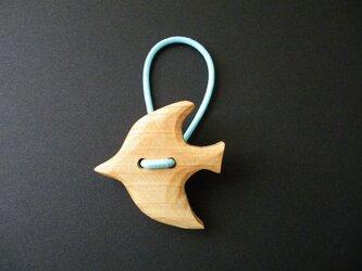 k 木彫りヘアゴム 鳥の画像