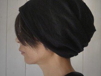 ターバンな帽子 黒+ネイビー  送料無料の画像