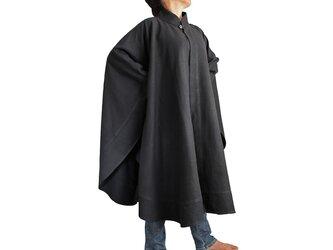 ジョムトン手織り綿チャイナケープ風マントコート 黒(JFS-047-01)の画像