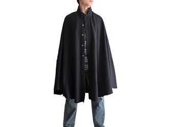 ジョムトン手織り綿スタンドカラーマント 黒(JFS-114-01)の画像