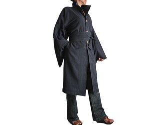 ジョムトン手織り綿着物袖コート腰紐付き 墨黒(JFS-115-01)の画像