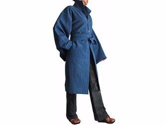 ジョムトン手織り綿着物袖コート腰紐付き インディゴ(JFS-115-03)の画像