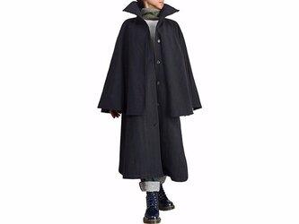 ジョムトン手織り綿のレディースハイネックインバネスコート 黒(JFS-136-01)の画像