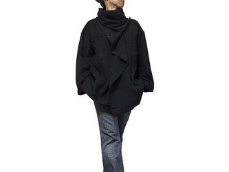 ジョムトン手織り綿マント風デザインジャケット 黒 Mサイズ(J-029-05M)の画像
