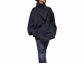 ジョムトン手織り綿マント風デザインジャケット 墨黒 Mサイズ(J-029-03M)の画像