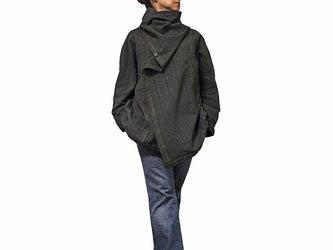 ジョムトン手織り綿マント風デザインジャケット 焦げ茶グレー系 Mサイズ(J-029-11M)の画像