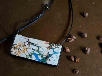 絞り染めLEATHERお財布bag-#multi-color《送料無料》の画像