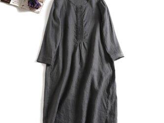 804−2絶対頼れるシンプル麻のワンピース 長袖ワンピース ダークグレーの画像