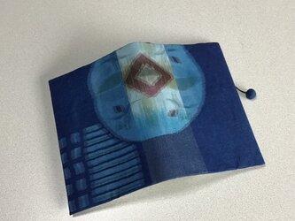 1025    着物リメイク    銘仙    丸に抽象花模様     文庫サイズブックカバーの画像