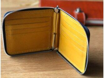 *イタリアンレザーブッテーロのラウンドファスナーマネークリップ 二つ折り財布の画像