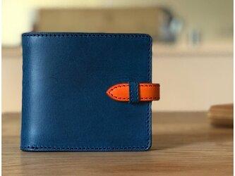 *イタリアンレザーブッテーロのフラップ付きハーフウォレット 二つ折り財布の画像