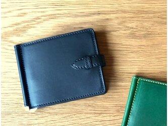 *イタリアンレザーブッテーロのマネークリップ 二つ折り財布 フラップ付きの画像
