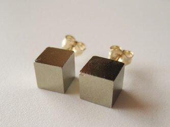パイライトの原石ピアス Cube/Spain 14kgfの画像