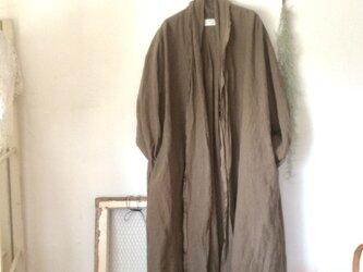 〔受注制作〕あったかストールコート / モカ(ベルギーリネン)の画像
