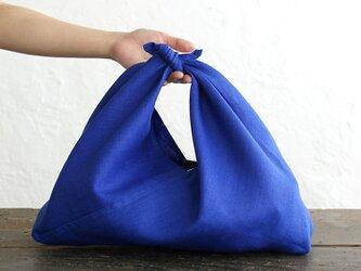 alinのあづま袋 M 50cm かごバッグに リネンあずま袋 マチ付き  (ロイヤルブルー)の画像