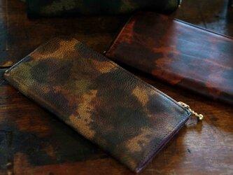 Italy迷彩LeatherなめらかファスナーL字長財布#brown/スマホ収納可能《送料無料》サービス品の画像