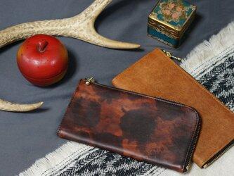 Italy迷彩LeatherなめらかファスナーL字長財布#赤茶/スマホ収納可能《送料無料》サービス品の画像