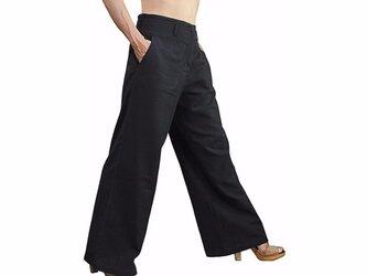 スタイルのよいジョムトン手織り綿パンツNo2 黒 (PFS-024-01)の画像
