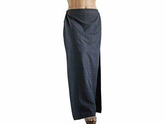 ジョムトン手織り綿のタイト風スカートパンツ 墨黒 (PFS-037-01)の画像