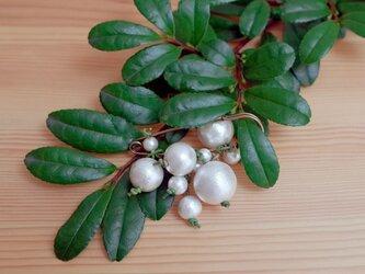 コットンパール植物風ストールピン/ブローチ<グリーン×ホワイト×アンティークゴールド>の画像