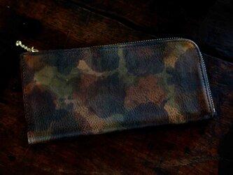 Italy迷彩LeatherなめらかファスナーL字長財布#カーキ/スマホ収納可能《送料無料》サービス品の画像