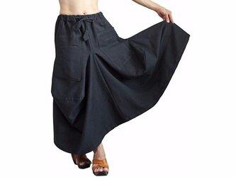ジョムトン手織り綿のゆったりデザインスカート 黒 (SRL-001-01)の画像