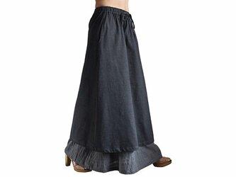 ジョムトン手織り綿ダブルスカート 墨黒 (SFS-016-01)の画像
