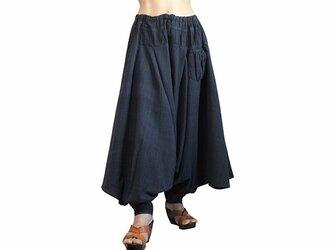 ジョムトン手織綿の埴輪型パンツ 墨黒 (PFS-054-01)の画像