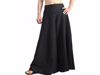 ビルマシルクのクワン風ワイドパンツ 黒 (PNN-010-01)の画像
